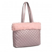 LD6826-MISS LULU PU LEATHER FLUFF AROUND QUILTED TOTE HANDBAG LIGHT PURPLE