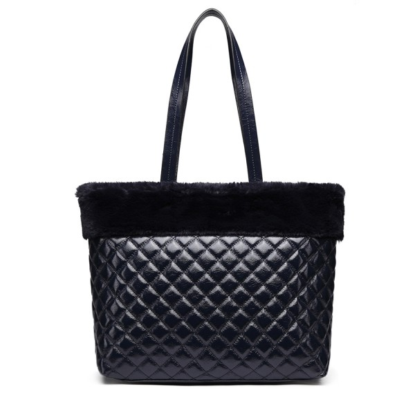 LD6826 - Miss Lulu Quilted Faux Fur Trim Tote Bag - Navy
