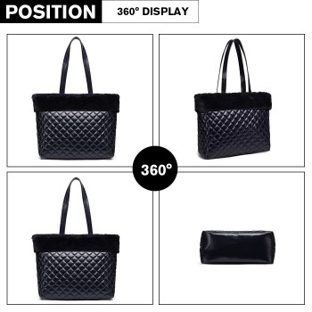 LD6826-MISS LULU PU LEATHER FLUFF AROUND QUILTED TOTE HANDBAG NAVY
