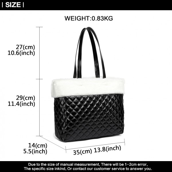 LD6826 - Miss Lulu Quilted Faux Fur Trim Tote Bag - White/Black
