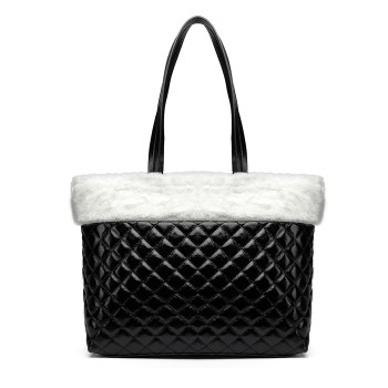 LD6826-MISS LULU PU LEATHER FLUFF AROUND QUILTED TOTE HANDBAG WHITE/BLACK