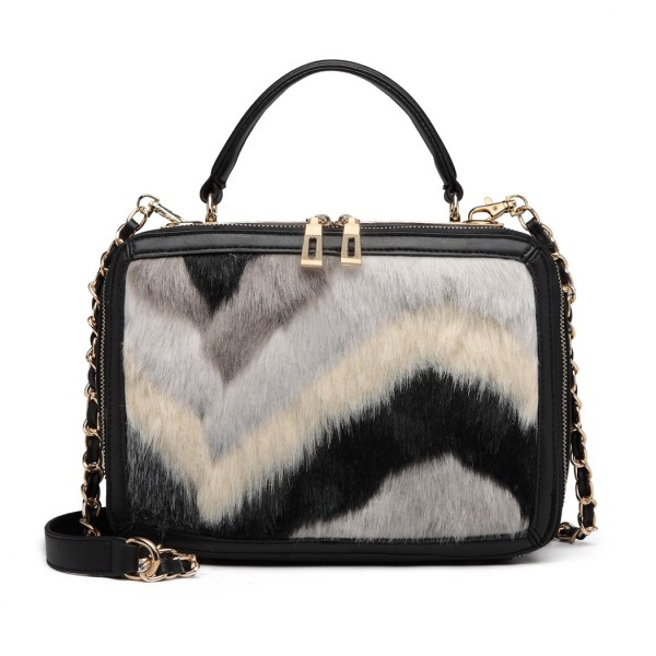 LD6827 - Miss Lulu Faux Fur Chevron Design Satchel Handbag - Black