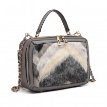 LD6827 - Miss Lulu Faux Fur Chevron Design Satchel Handbag - Grey