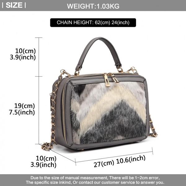 LD6827 - Miss Lulu Faux Fur Chevron Design Satchel Handbag - Grey