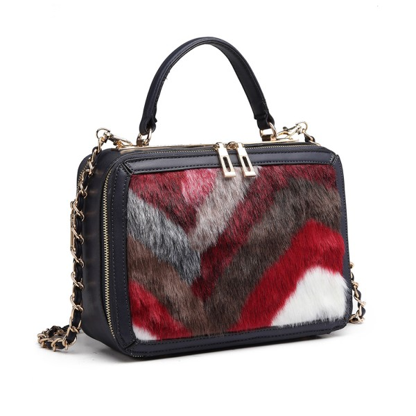 LD6827 - Miss Lulu Faux Fur Chevron Design Satchel Handbag - Navy/Red
