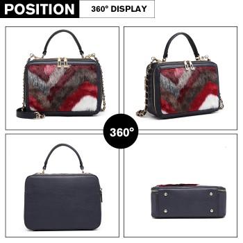 LD6827-MISS LULU LEATHER FLUFF ORNAMENT HANDBAG SHOULDER BAG NAVY/RED