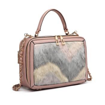 LD6827-MISS LULU LEATHER FLUFF ORNAMENT HANDBAG SHOULDER BAG PINK