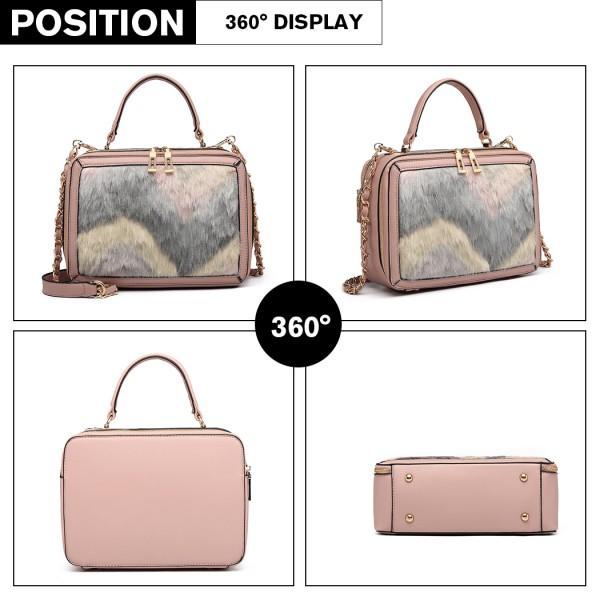 LD6827 - Miss Lulu Faux Fur Chevron Design Satchel Handbag - Pink
