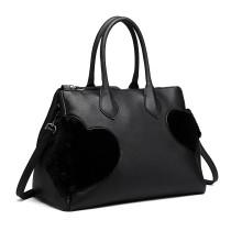 LD6828-MISS LULU HEART-SHAPE FLUFF DECORATION HANDBAG SHOULDER BAG BLACK