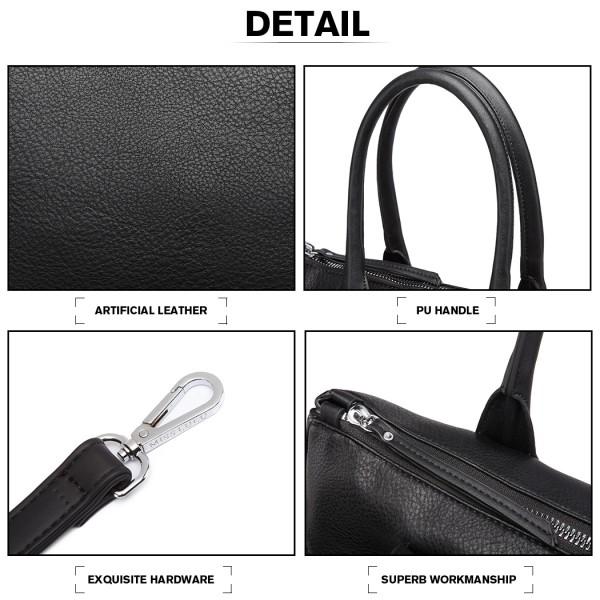 LD6828 - Miss Lulu Faux Fur Heart Design Handbag - Black