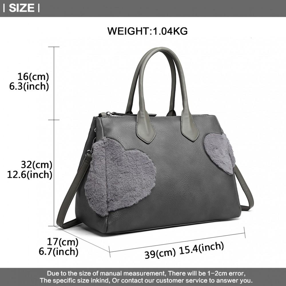 692ee88868 LD6828 - Miss Lulu Faux Fur Heart Design Handbag - Grey