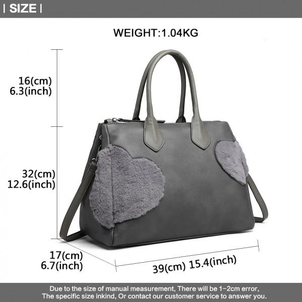 LD6828 - Miss Lulu Faux Fur Heart Design Handbag - Grey