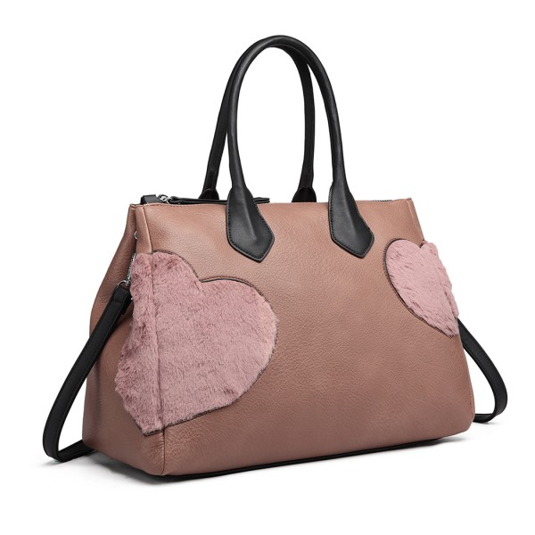 LD6828 - Miss Lulu Faux Fur Heart Design Handbag - Pink