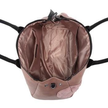 LD6828-MISS LULU HEART-SHAPE FLUFF DECORATION HANDBAG SHOULDER BAG PINK