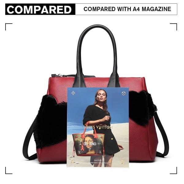 LD6828 - Miss Lulu Faux Fur Heart Design Handbag - Red