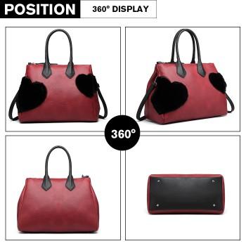 LD6828-MISS LULU HEART-SHAPE FLUFF DECORATION HANDBAG SHOULDER BAG RED