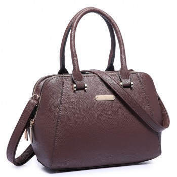 LF1627 - Miss Lulu Faux Leather Two Compartment Shoulder Bag coffee