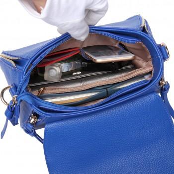 LF1676- Miss Lulu Expandable Zipped Cross Body Shoulder Bags blue