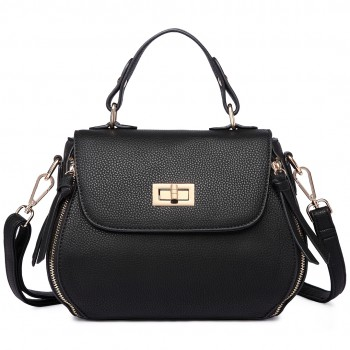 LF1676- Miss Lulu Expandable Zipped Cross Body Shoulder Bags black