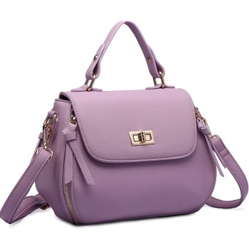 LF1676- Miss Lulu Expandable Zipped Cross Body Shoulder Bags purple