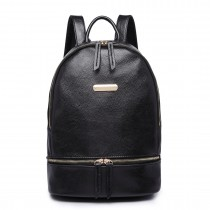 LF6606-MISS LULU LEATHER LOOK  BACKPACK SCHOOL BAG BLACK