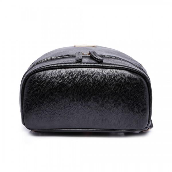 LF6606 - MISS LULU LEATHER LOOK  BACKPACK SCHOOL BAG - BLACK