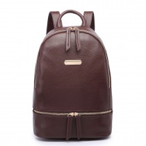 LF6606-MISS LULU LEATHER LOOK BACKPACK SCHOOL BAG COFFEE