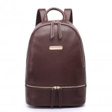 LF6606-MISS LULU LEATHER LOOK BACKPACK SCHOOL BAG COFFEE