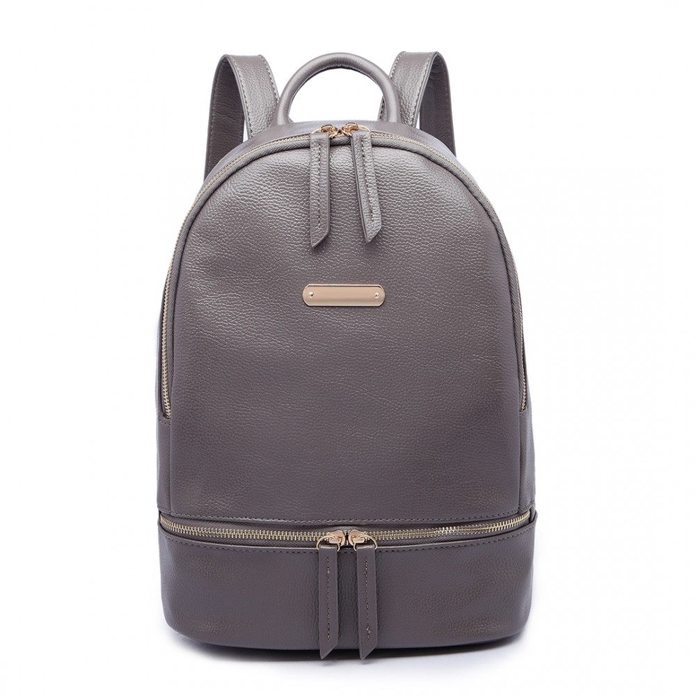 LF6606-MISS LULU LEATHER LOOK BACKPACK SCHOOL BAG GREY