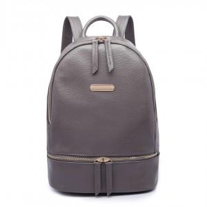 LF6606 - MISS LULU LEATHER LOOK BACKPACK SCHOOL BAG - GREY