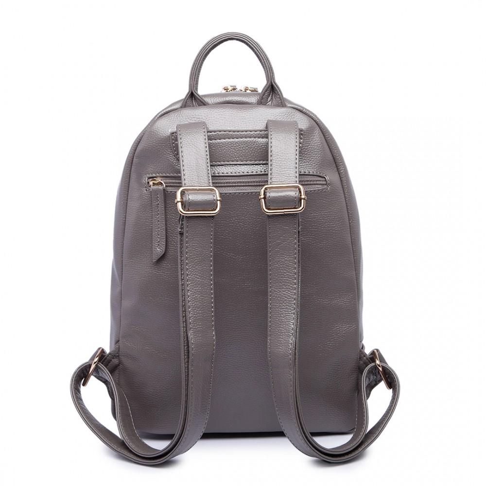 4dea94363499 LF6606-MISS LULU LEATHER LOOK BACKPACK SCHOOL BAG GREY
