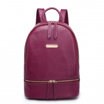 LF6606-MISS LULU LEATHER LOOK  BACKPACK SCHOOL BAG PURPLE