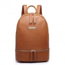 LF6606 - MISS LULU LEATHER LOOK BACKPACK SCHOOL BAG - TAN