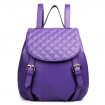 LG1617 - Miss Lulu Leather Look Quilted Flap Backpack Purple
