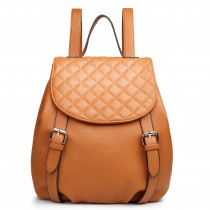 LG1617 - Miss Lulu Leather Look Quilted Flap Backpack Yellow
