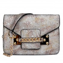 LG1619 - Miss Lulu Glitter Ball Chain Satchel Apricot