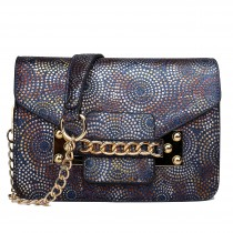 LG1619 - Miss Lulu Glitter Ball Chain Satchel Navy