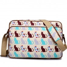 LG1624CT - Miss Lulu Matte Oilcloth Messenger Bag Cat Beige