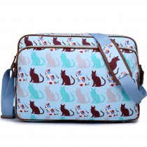 LG1624CT --Miss Lulu Matte Oilcloth Messenger Bag Cat Blue