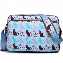 LG1624CT - Sacoche Miss Lulu en toile cirée imprimé chats en bleu