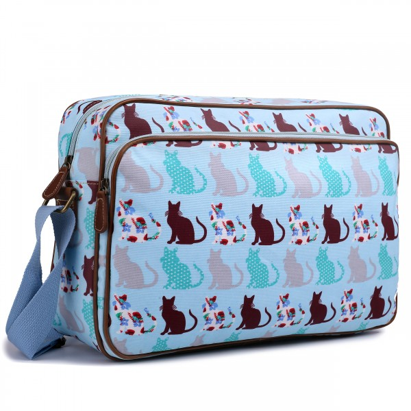 LG1624CT - Miss Lulu Matte Oilcloth Messenger Bag Cat Blue