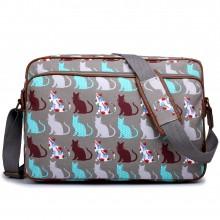 LG1624CT - Miss Lulu Matte Oilcloth Messenger Bag Cat Grey