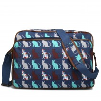 LG1624CT - Bandolera impermeable mate Miss Lulu con gatos en azul marino