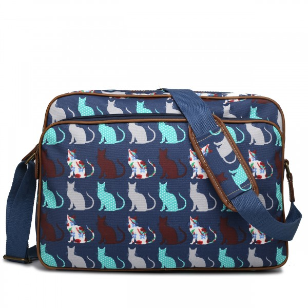 LG1624CT - Miss Lulu Matte Oilcloth Messenger Bag Cat Navy