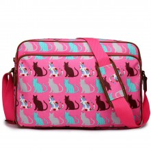 LG1624CT - Miss Lulu Matte Oilcloth Messenger Bag Cat Pink