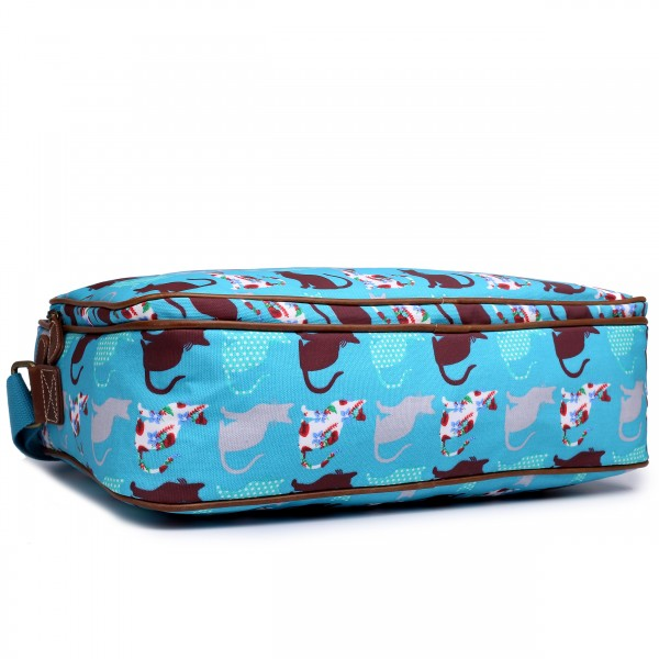 LG1624CT - Miss Lulu Matte Oilcloth Messenger Bag Cat Teal