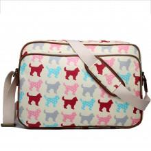 LG1624NDG - Miss Lulu Matte Oilcloth Messenger Bag Dog Beige