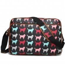 LG1624NDG - Miss Lulu Matte Oilcloth Messenger Bag Dog Black