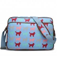 LG1624NDG - Miss Lulu Matte Oilcloth Messenger Bag Dog Blue
