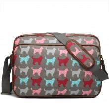 LG1624NDG - Miss Lulu Matte Oilcloth Messenger Bag Dog Grey